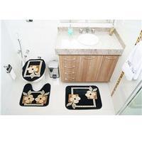 Jogo de Tapetes para Banheiro Rayza Royal Luxury RLN 103 Preto 3 Peças