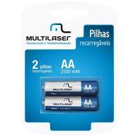 2 Pilhas Recarregáveis Multilaser AA 2500 mAh CB053