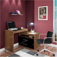 Mesa para Computador Móveis Europa Eros Flex 4811 Castanho e Preto