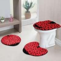 Jogo De Banheiro Guga Tapetes Formato Joaninha Vermelho 3 Peças