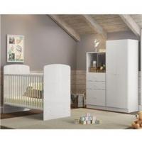Conjunto Infantil Guarda-roupa Com Berço Cama E Cômoda Golfinho Multimóveis Brilho Branco