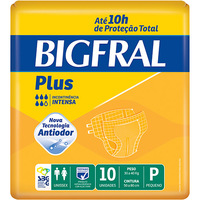 Fraldas Descartáveis Bigfral Plus Incontinência Intensa 10 Unidades Tamanho P