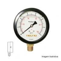 Manômetro Caixa Aço Carbono Interno de Latão Glicerinado Ø100mm Classe B Escala Dupla 0 a 30kgf/cm² Rosca 1/2NPT Reto Tecno TECN-550.100R30