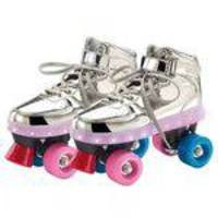 Patins Com Led - 4 Rodas - Prata - 33/34 - Fun