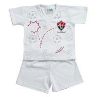 Pijama Curto Torcida Baby Vitória Branco Tamanho P
