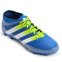 Chuteira Adidas Ace 16.3 Primemesh FG Campo Masculino Azul Turquesa e Verde Limão