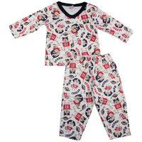 Pijama Longo Piu Piu Suedine Marfim com Cachorro