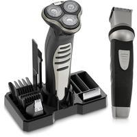 Barbeador Multigroom Wahl Lithium Shaver Bivolt + Aparador Wahl Groomsman Body 3 em 1 Preto e Prata