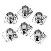Jogo de Xícaras para Chá Tramontina Continental Inox 18 peças