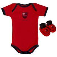 Body Manga Curta Torcida Baby Flamengo Preto e Vermelho Tamanho P + Pantufa Torcida Baby Flamengo