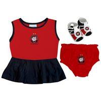Vestido Infantil Torcida Baby Atlético Paranaense Vermelho e Preto Tamanho P