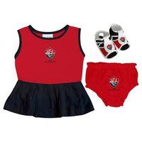Vestido Infantil Torcida Baby Vitória Vermelho e Preto Tamanho P