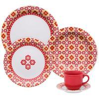 Aparelho Para Jantar e Chá Oxford Floreal Branco, Vermelho e Amarelo 30 Peças