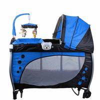 Berço Desmontável Baby Style Balanço Musical Azul com Trocador e Móbile