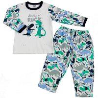 Pijama Longo Piu Piu Suedine Branco com Dinossauro