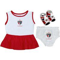 Vestido Infantil Torcida Baby São Paulo Vermelho e Branco Tamanho P