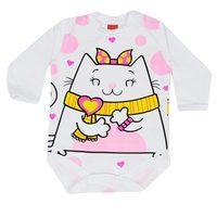 Body Manga Longa Get Baby Malha Branco com Gatinha