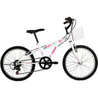 Bicicleta Caloi Ceci Aro 20 Branca e Rosa