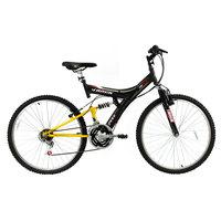 Bicicleta Track Bikes Aro 26 18 Marchas TB100 Preta e Amarela