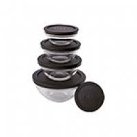 Conjunto de Potes Euro Home de Vidro Colors com Tampa 5 Peças Design Imbatível Preto VDR3008