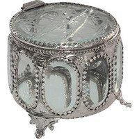 Porta Joia Prestige Ovalado Silver Antique Incolor
