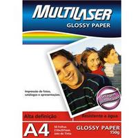 Papel Fotográfico Multilaser Glossy Paper A4 50Folhas PE003