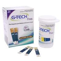 Tiras Reagentes G-Tech Free 1 p/ Teste de Glicemia 25 Unidades