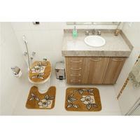 Jogo de Tapetes para Banheiro Rayza Royal Luxury Caramelo 3 Peças