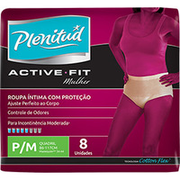 Fralda Geriátrica Roupa Íntima Active Cotton Plenitud Feminina P/M 8 Unidades