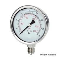 Manômetro Total Inox Glicerinado Ø100mm Classe A1 Escala Dupla 0 a 1,6kgf/cm² Rosca 1/2NPT Reto Tecno TECN-750.100R1.6