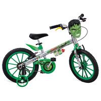 Bicicleta Bandeirante Aro 16 Avengers Hulk Infantil Prata e Verde