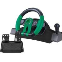 Volante Racer Para Xbox One Pc Multilaser Js077 Usb 2 Pedais Preto e Verde