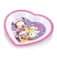 Prato Raso de Microondas Multikids Baby Minnie Mouse Branco, Lilás e Rosa