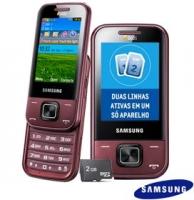 Celular Samsung C3752 Desbloqueado GSM Dual Chip Vinho + Cartão de 2GB