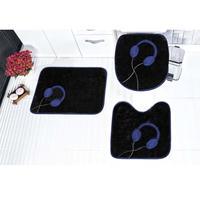 Jogo de Banheiro Guga Tapetes Fone de Ouvido Azul Royal 3 Peças