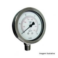 Manômetro Total Inox Ø50mm Classe A1 Escala Dupla 0 a 1,6kgf/cm² Rosca 1/8NPT Reto Tecno TECN-700.50R1.6