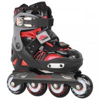 Patins Oxer Cougar CR7 Base de Alumínio ABEC 7 Ajustável Slalom Freestyle Preto e Vermelho