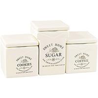Jogo 3 Potes para Café Açúcar e Biscoitos Bon Gourmet 750ml e 930ml
