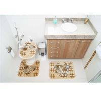 Jogo de Tapetes para Banheiro Rayza Royal Luxury RLN 104 Creme 3 Peças
