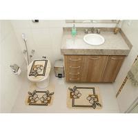Jogo de Tapetes Rayza para Banheiro Royal Luxury RLN 103 Creme 3 Peças