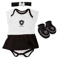Body Vestido e Pantufa Torcida Baby Botafogo