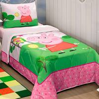 Edredom Lepper Solteiro Peppa Pig 180 Fios Rosa
