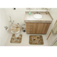 Jogo de Tapetes para Banheiro Rayza Royal Luxury RLN 104 Verde 3 Peças