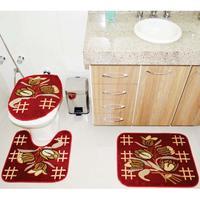 Jogo de Tapetes Para Banheiro Rayza Royal Luxury RLN 104 Vermelho 3 Peças