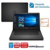 Notebook Dell Inspiron I14-5458-b37P Core I5-5200U 2.2GHz 8GB 1TB Windows 10 Preto + Office 365 Personal Download