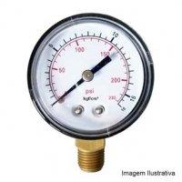 Manômetro Caixa Aço Carbono Interno de Latão Ø100mm Classe B Escala Dupla 0 a 350kg/cm² (5.000Psi) Rosca 1/2NPT Reto Tecno TECN-500.100R350