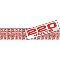 Placa Etiqueta Sinalize de Voltagem 220 em Alumínio 5x25cm Vermelho