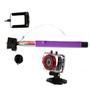 Câmera Leadership Sport HD 6120 Preta e Vermelha + Bastão de Mão Retrátil Stillo ST 200 Roxo