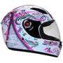 Capacete Mixs Fokker Racing Girls Branco e Rosa