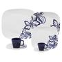 Aparelho Para Jantar, Chá e Cafezinho Oxford Shift Florata, Branco e Azul Cobalto 42 Peças